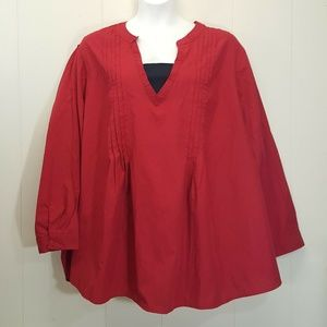 Woman Within 5X Shirt Top Blouse Red 38 40